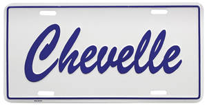 "- Chevelle License Plate, ""Chevelle"" Embossed No Year, by RESTOPARTS"