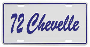 "1972 License Plate, ""Chevelle"" Embossed"