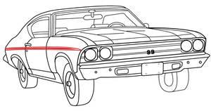 1969-1969 Chevelle Body Stripe Decals, 1969 Super Sport Chevelle Red, by RESTOPARTS