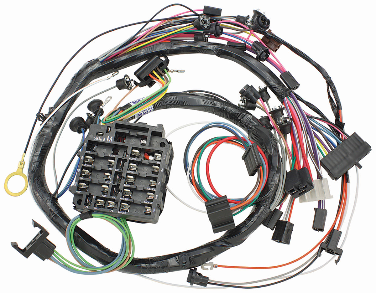 m&h 1969 chevelle dash instrument panel harness w warning lights & a 1969 chevelle  fuse box