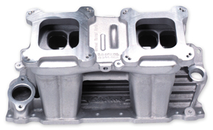1964-77 Chevelle Manifolds, Street Tunnel Ram (Small-Block) (Polished), by Edelbrock