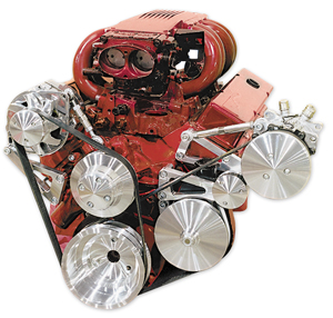 1970-77 Monte Carlo Serpentine Conversion Kit, Long Water Pump (Small-Block) High Water Flow (Increases Cooling) with Air Conditioning & Press Fit, by March Performance