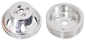 1970-77 Monte Carlo V-Belt Pulleys, Forged Billet (Small-Block) Long, Double (Lower) Forged Machined Finish