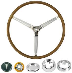 1965-66 Bonneville Steering Wheel Kit, Simulated Wood Sport Complete