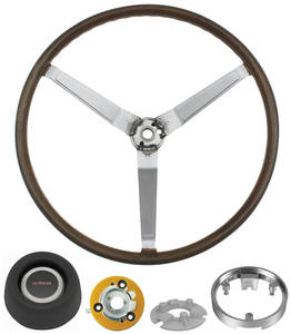 1969-70 Bonneville Steering Wheel Kit, Simulated Wood Sport Complete
