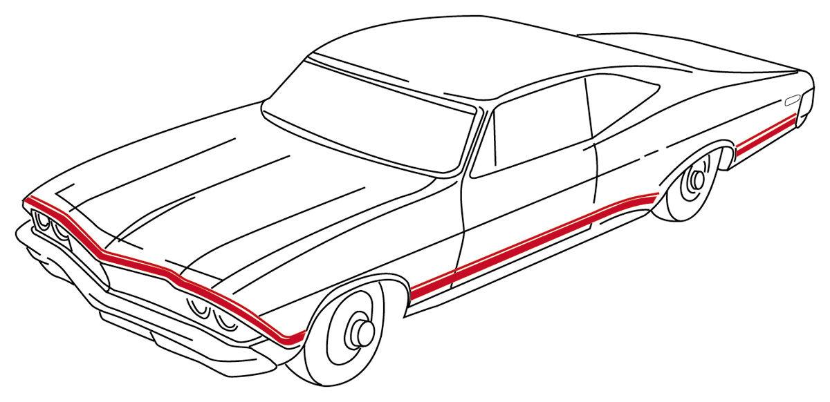 restoparts body stripe decals  1968 super sport chevelle red fits 1968 chevelle   opgi com