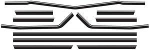 Body Stripe Decals, 1968 Super Sport El Camino Black (7 Pieces)