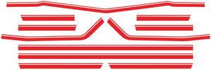 Body Stripe Decals, 1968 Super Sport El Camino Red (7 Pieces)