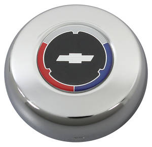 1964-1977 Chevelle Horn Button, Classic Series Silver Bowtie on Black, by Grant