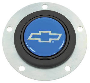 1964-77 Chevelle Horn Button, Classic Series Silver Bowtie on Blue