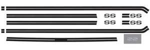 1973-1977 El Camino Body Stripe Decals, 1973-77 Super Sport Beltline Black (9 Pieces), by RESTOPARTS