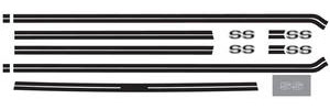 El Camino Body Stripe Decals, 1973-77 Super Sport Beltline Black (9 Pieces)