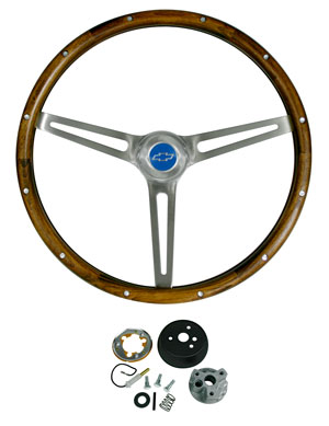 1966-1966 El Camino Steering Wheel Kits, Walnut Wood, by Grant