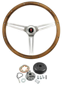 1967-68 LeMans Steering Wheel, Walnut Wood