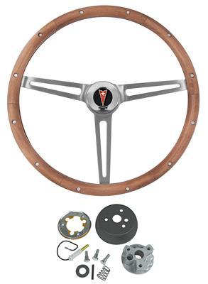 1964-1966 Grand Prix Steering Wheel, Walnut Wood w/o Tilt, by Grant