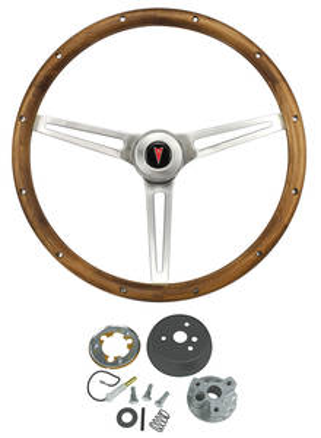 1964-66 Catalina/Full Size Steering Wheel, Walnut Wood w/o Tilt