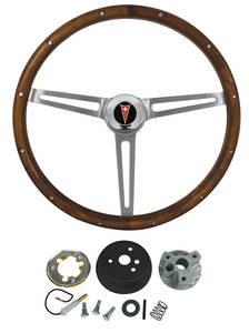 1964-66 LeMans Steering Wheel, Walnut Wood