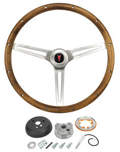 1965-66 Bonneville Steering Wheel, Walnut Wood w/Tilt
