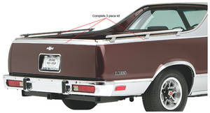 1978-87 El Camino Bed Molding; Upper Bed & Tailgate Finish Complete Discounted Kit, by RESTOPARTS