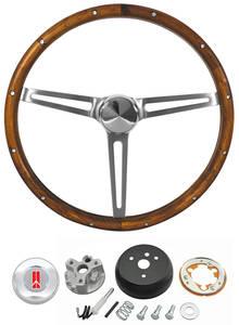 1964-66 Cutlass Steering Wheel Kits, Walnut Wood w/o Tilt, by Grant