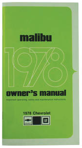 1978-1978 Malibu Authentic Owner's Manuals Malibu