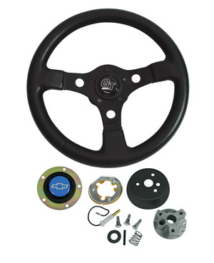 1966-1966 El Camino Steering Wheels, Formula GT Blue Bowtie, by Grant