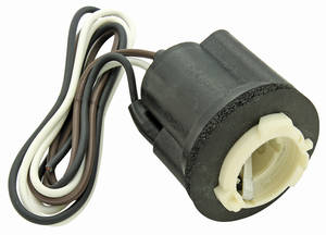 "1978-88 El Camino Light Socket; Park, Stop & Tail Light 3-Wire, Fits 1"" Hole Twist-Lock Retainer"