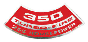 1964-1977 Chevelle Air Cleaner Decal, Turbo-Fire 350, 255 HP
