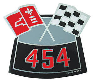 1978-88 Malibu Air Cleaner Decal, Crossed Flags 454