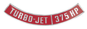 1964-77 El Camino Air Cleaner Decal, Turbo-Jet 375 HP