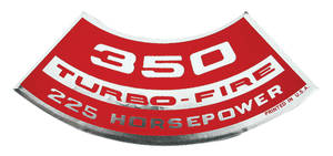 1964-77 El Camino Air Cleaner Decal, Turbo-Fire 350, 225 HP