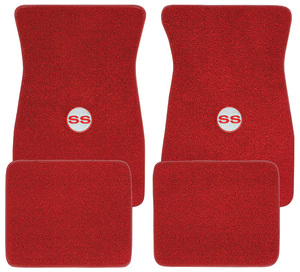 "1964-1973 Chevelle Floor Mats, Carpet Matched Oem Style - Front and Rear ""SS"" (Loop), by ACC"