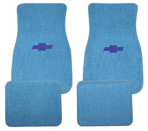 1964-73 Chevelle Floor Mats, Carpet Matched Oem Style Blue Bowtie (Loop) -Front and Rear