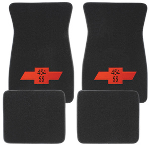 "1964-73 Chevelle Floor Mats, Carpet Matched Oem Style - Front and Rear ""454 SS"" w/Red Bowtie (Loop)"