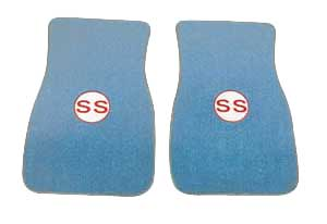 "1970-73 Monte Carlo Floor Mats, Embroidered ""454 SS"" in Bowtie (Front Mats Only), by Trim Parts"