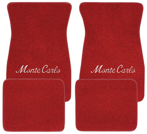"1970-73 Floor Mats, Carpet Matched Oem-Style Carpet ""Monte Carlo"" Script (Loop)"