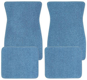 1964-77 Chevelle Floor Mats, Carpet Matched Essex Blue Bowtie -Front and Rear