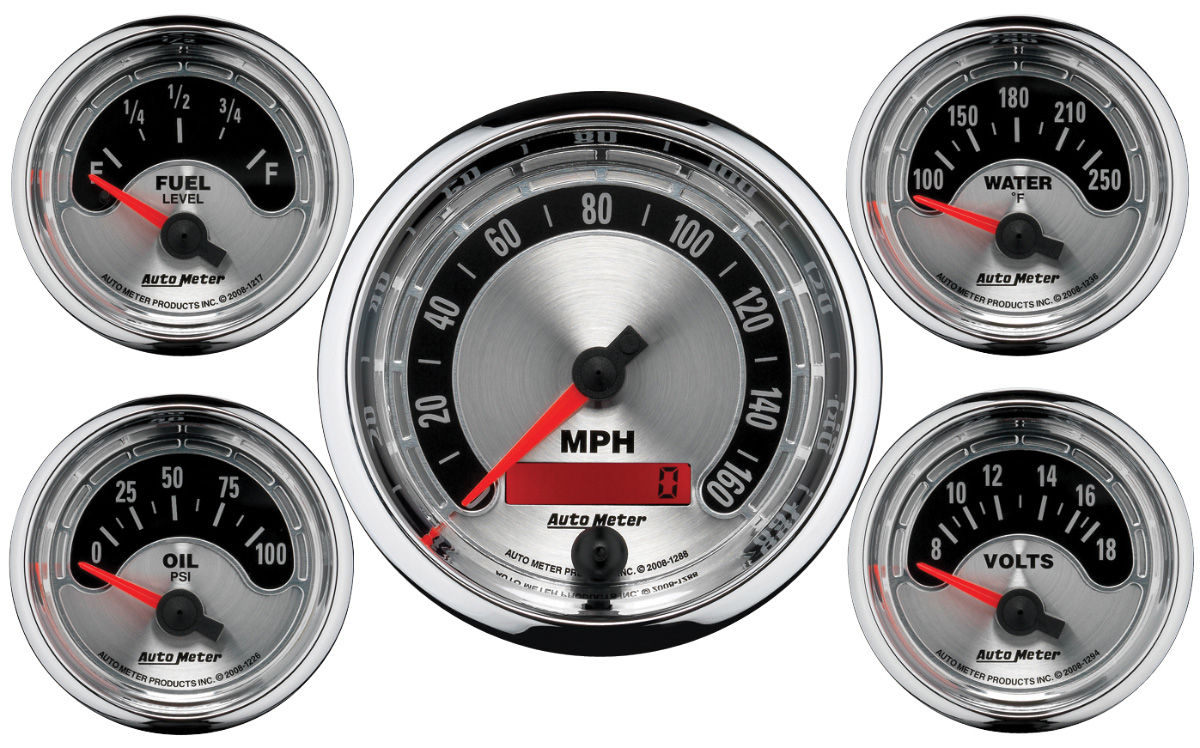 "Photo of Gauge, American Muscle Series 3-3/8"" electric speedo/2-1/16"" gauge kit"