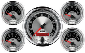 "Gauge, American Muscle Series 3-3/8"" Diameter Electric Speedo/2-1/16"" Gauge Kit, by Autometer"