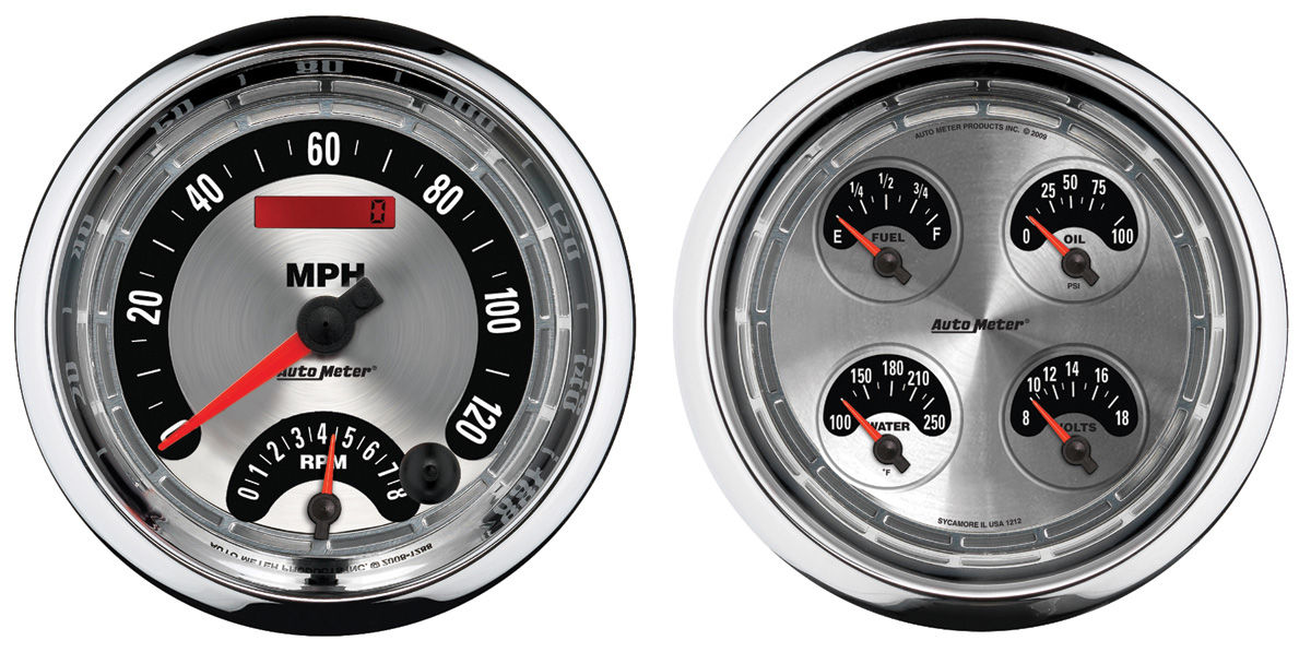 "Photo of Gauge, American Muscle Series 5"" quad gauge & tach/speedo combo kit"