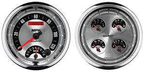 "Gauge, American Muscle Series 5"" Quad Gauge (Fuel Level/Oil Pressure/Water Temperature/Volt Meter) & Tach/Speedo Combo Kit, by Autometer"