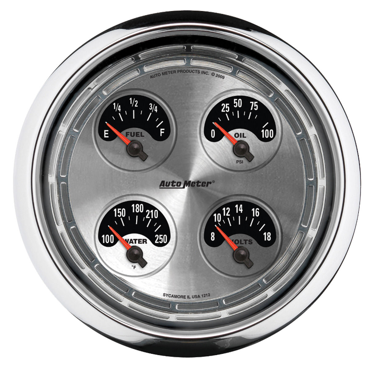 "Photo of Gauge, American Muscle Series 5"" quad gauge (fuel/oil/water/volts)"