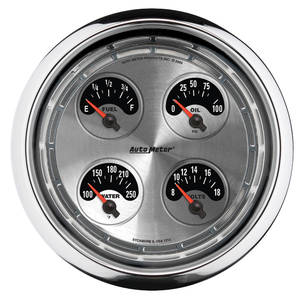 "Gauge, American Muscle Series 5"" Quad Gauge(Fuel/Oil/Water/Volts)"