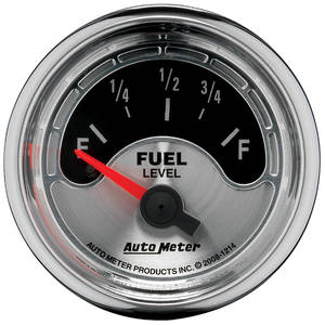 "1964-1977 Chevelle Gauge, American Muscle Series 2-1/16"" Fuel Level(OHMS 0 Empty/90 Full), by Autometer"