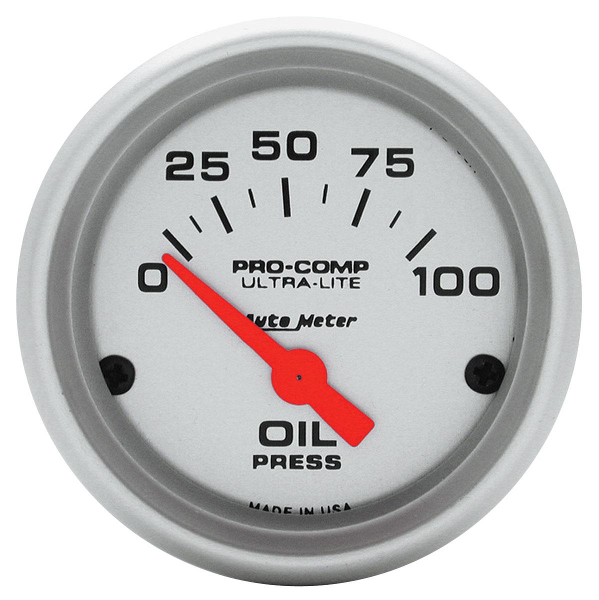 """Photo of Gauge, Ultra Lite Series 2"""" Oil Pressure, 0-100psi"""