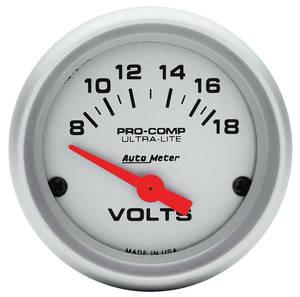 """1959-77 Bonneville Gauge, Ultra Lite Series 2"""" Voltmeter, 8-18V"""