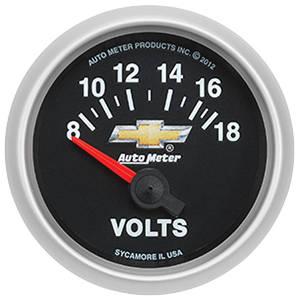 """1964-1977 Chevelle Gauge, COPO Bowtie Voltmeter, 2-1/16"""", 8-18 Volts, by Autometer"""