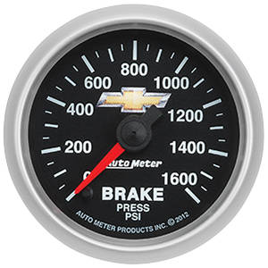 "1964-77 Chevelle Gauge, COPO Bowtie Brake Pressure, 2-1/16"", 0-1600 PSI, by Autometer"