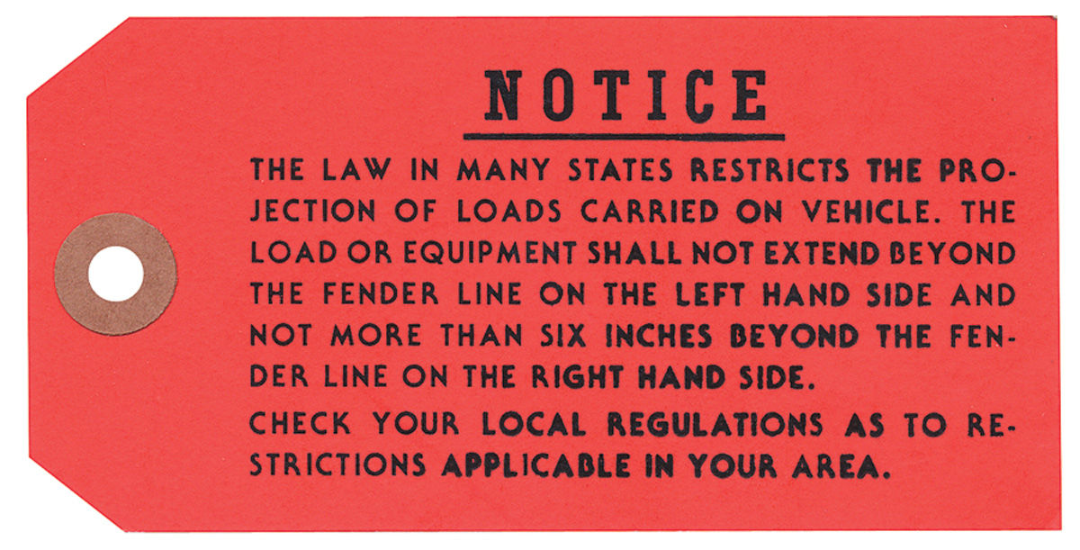 Photo of Luggage Rack Instruction Tag, 1968-71