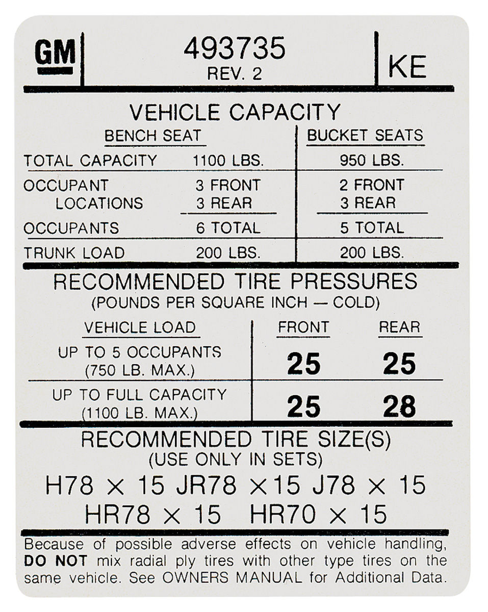 1974 grand prix tire pressure decal  u0026quot ke u0026quot   gm  493735